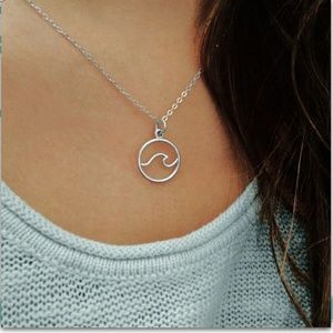 Jewelry - Life's A Beach Wave Ocean Circle Silver Necklace